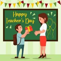 offrir des cadeaux à l'enseignant le jour de l'enseignant vecteur