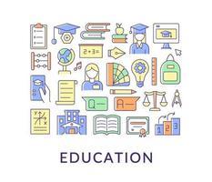 mise en page de concept de couleur abstraite de l'éducation avec titre vecteur