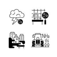 jeu d & # 39; icônes linéaire noir pollution de l & # 39; air vecteur