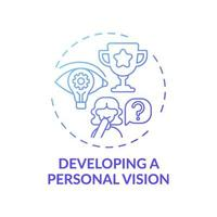 développer une icône de concept de gradient bleu vision personnelle vecteur