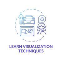 Apprendre la technique de visualisation icône de concept dégradé bleu vecteur