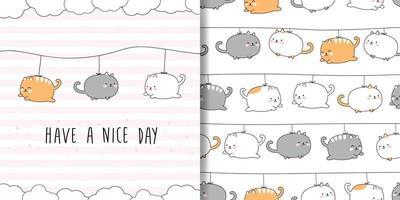 Carte de doodle de dessin animé mignon chat potelé chaton et bundle de modèle sans couture vecteur