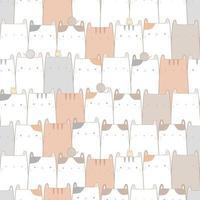 dessin animé mignon chat chaton doodle modèle sans couture pastel vecteur