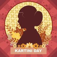 jour de kartini avec fond de silhouette vecteur