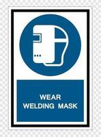 porter le signe de symbole de masque de soudage isoler sur fond transparent, illustration vectorielle vecteur