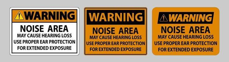signe d'avertissement ppe, la zone de bruit peut causer une perte auditive, utilisez une protection auditive appropriée pour une exposition prolongée vecteur