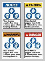 porter des lunettes de protection contre les produits chimiques, un écran facial et des gants en caoutchouc lors de la manipulation de produits chimiques vecteur