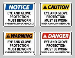 des lunettes de protection et des gants doivent être portés lors de la manipulation de produits chimiques vecteur