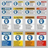 zone de protection des oreilles et des yeux, une défaillance peut entraîner des dommages auditifs et visuels vecteur