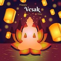 bonne journée de vesak avec une belle lanterne vecteur