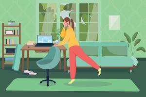 séance d & # 39; entraînement à la maison illustration vectorielle couleur plat vecteur