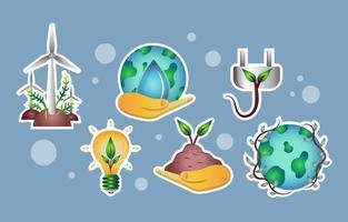 ensemble d'autocollants de technologie éco-verte vecteur