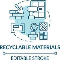 icône de concept de matériaux recyclables vecteur