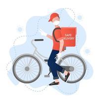 concept de vecteur de livraison sûre. livreur souriant avec un vélo rend la livraison sûre et protégée contre les virus. livraison de nourriture sûre. concept de prévention des virus. illustration vectorielle de dessin animé. prévention du coronavirus.