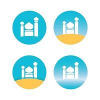 définir l'icône de l'image vectorielle de mosquée design plat vecteur