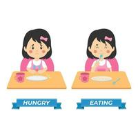 enfants de vecteur de stock affamés et mangeant
