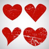Coeurs grunge saint valentin vecteur
