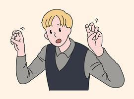un homme fait un geste d'emphase en pliant ses deux doigts. illustrations de conception de vecteur de style dessiné à la main.
