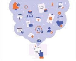 icônes d'abonnement et de paiement aux réseaux sociaux en ligne. illustration vectorielle minimale de style design plat. vecteur