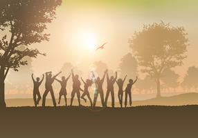 Les gens qui dansent à la campagne vecteur