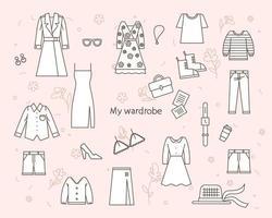 les icônes de la mode sont librement disposées. illustration vectorielle minimale de style design plat. vecteur