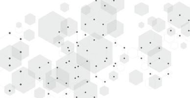 fond blanc de points, de lignes et d'hexagones - vecteur