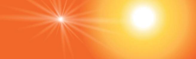 soleil éclatant sur fond jaune-orange - illustration vecteur