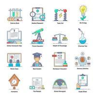éléments d'apprentissage et d'éducation virtuels vecteur