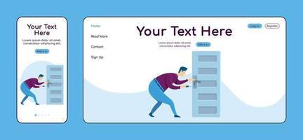 fixation du bouton de porte modèle de vecteur de couleur plate page de destination adaptative. handyworker service mobile et mise en page de la page d'accueil pc. réparateur d'une page de site Web ui. réparation à domicile conception de plate-forme croisée de page Web