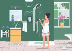 illustration vectorielle de salle de bains intelligente appareils de couleur plat. fille contrôlant la douche avec smartphone. iot dans la vie domestique. femme, utilisation, téléphone portable, 2d, dessin animé, caractère, à, salle bains, sur, arrière-plan vecteur