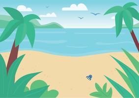 plage de sable tropical et illustration vectorielle de mer plat couleur. paysage marin avec des palmiers et des oiseaux en vol. nature paisible exotique. paysage de dessin animé 2d bord de mer avec soleil brillant sur fond vecteur