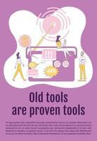 vieux outils et outils éprouvés affiche modèle de vecteur de silhouette plate. Brochure publicitaire radio, conception de livret d'une page avec des personnages de dessins animés. dépliant public, dépliant avec espace de texte