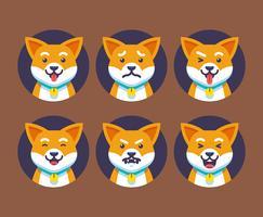 Set de vecteur d'émotions chien