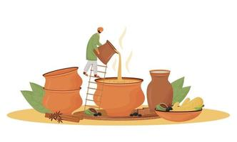 cuisine indienne, illustration vectorielle de teashop service plat concept. homme versant le personnage de dessin animé masala chai 2d pour la conception web. boisson traditionnelle, mélange aromatique servant une idée créative vecteur