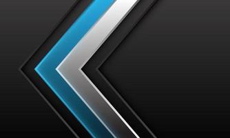 direction de l'ombre abstraite flèche bleue argentée sur gris foncé métallique avec espace vide design illustration vectorielle de fond futuriste moderne. vecteur