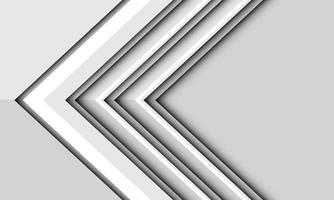 direction de la flèche blanche abstraite sur l'ombre métallique grise avec illustration vectorielle de conception d'espace vide fond futuriste moderne. vecteur