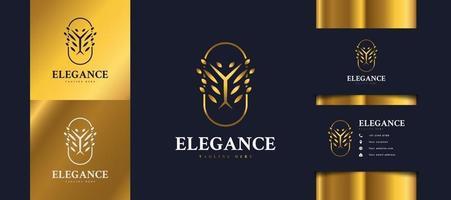 logo d'arbre doré de luxe avec feuillage dans un cercle, peut être utilisé pour les logos d'hôtels, de spa, de beauté ou d'immobilier vecteur