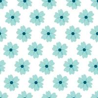 motif floral. jolies fleurs sur fond blanc. impression avec de petites fleurs bleues. impression ditsy. texture vectorielle continue. motifs de fleurs mignons. modèle élégant pour imprimantes à la mode vecteur