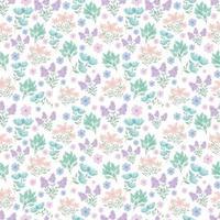 joli motif floral. jolies petites fleurs sur fond blanc. impression de petites fleurs roses, violettes, bleues. impression ditsy. texture vectorielle continue. modèle élégant pour les imprimantes à la mode. fleurs de printemps. fleurs d'été. vecteur