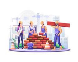 joyeuse fête du Travail. les ouvriers du bâtiment travaillent à la construction de la fête du travail le 1er mai. illustration vectorielle vecteur