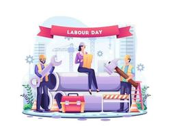 joyeuse fête du Travail. les ouvriers du bâtiment travaillent le 1er mai le jour de la fête du travail. illustration vectorielle vecteur