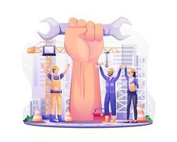 joyeuse fête du Travail. les ouvriers du bâtiment avec un bras géant levé fêtent la fête du travail le 1er mai. illustration vectorielle vecteur