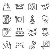 jeu d'icônes de fête et de célébration vecteur