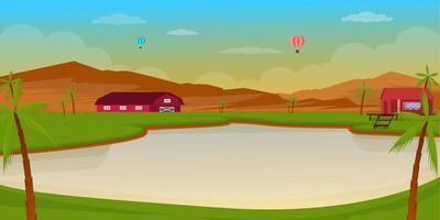 paysage d'été et d'aventure vecteur