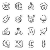 jeu d'icônes d'élément affaires et finances vecteur