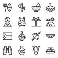 élément culturel du jeu d'icônes africaines vecteur