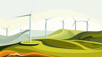 parcs éoliens avec des collines verdoyantes. vecteur