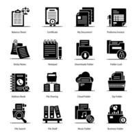jeu d'icônes de dossiers et de documents de fichiers vecteur