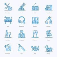 jeu d'icônes d'éléments de musique club bar vecteur