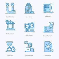 jeu d & # 39; icônes de services d & # 39; achat et de vente au détail vecteur